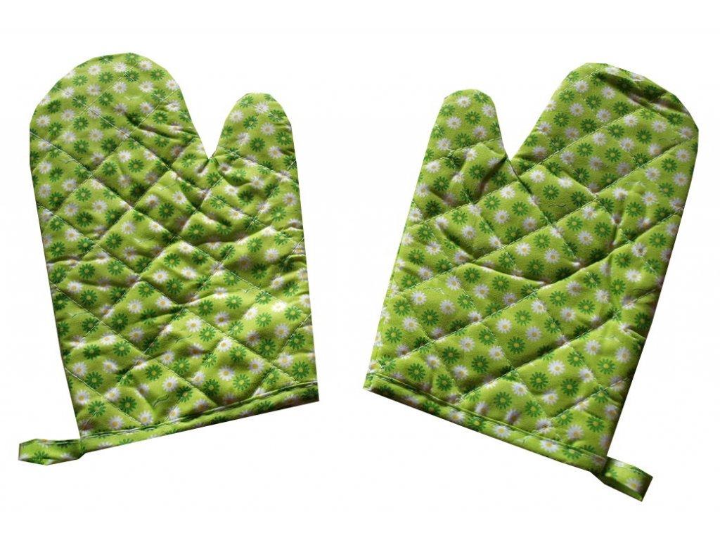 chňapka s magnetem zelené kytičky