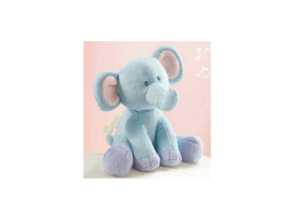 Plyšový hrací sloník modrý