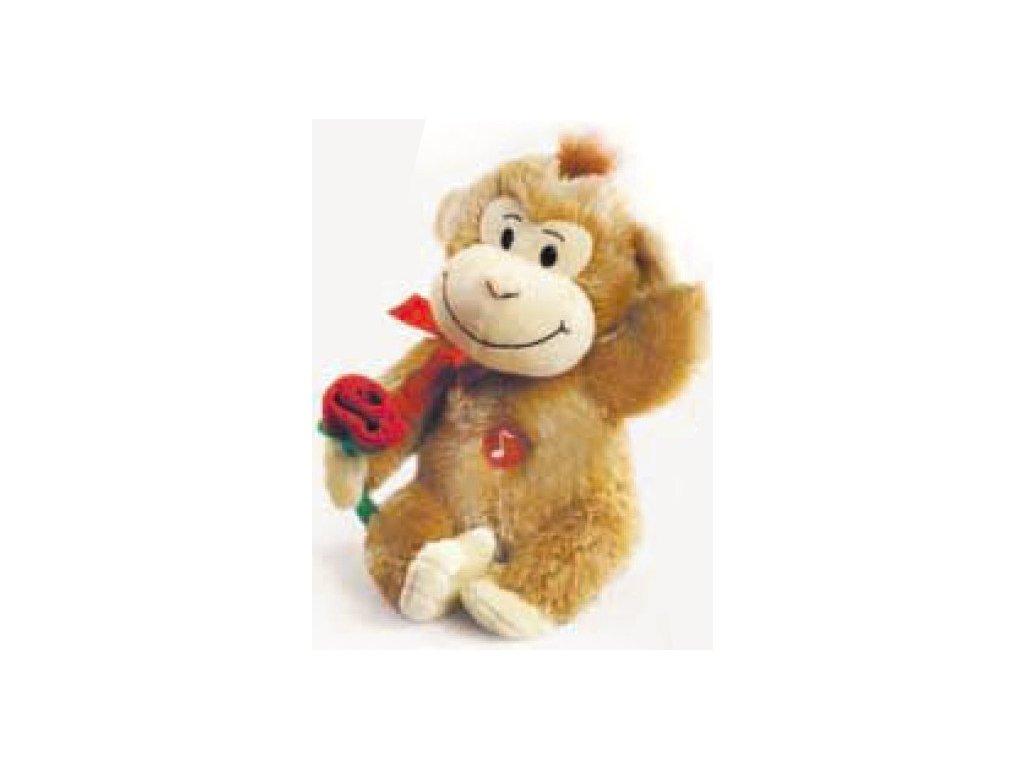 Opička vřeštící písničku světle hnědá