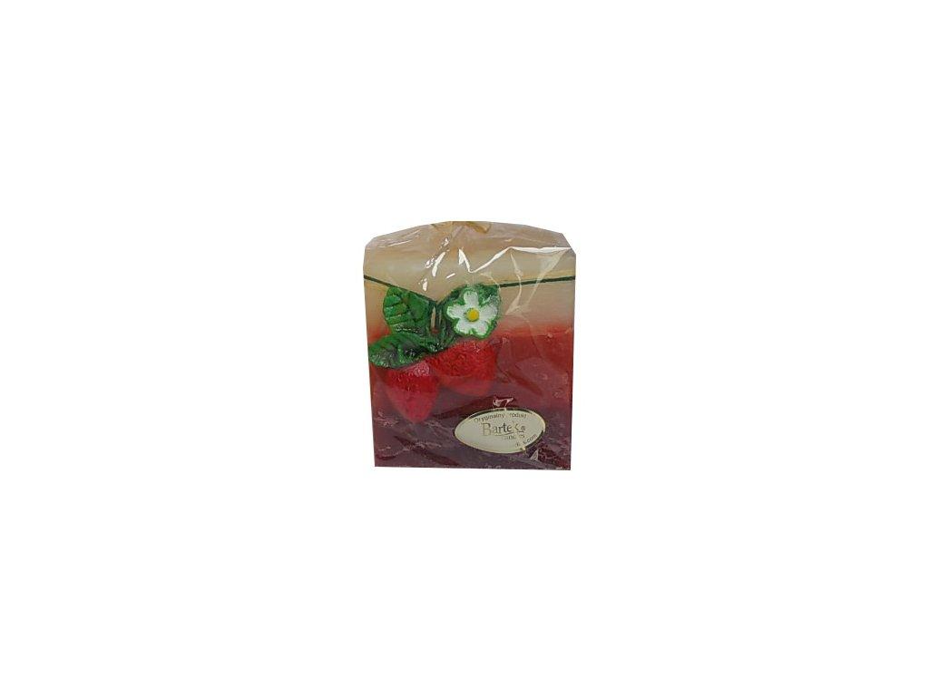 Svíčka vonná dekorační jahodová tvar krychle