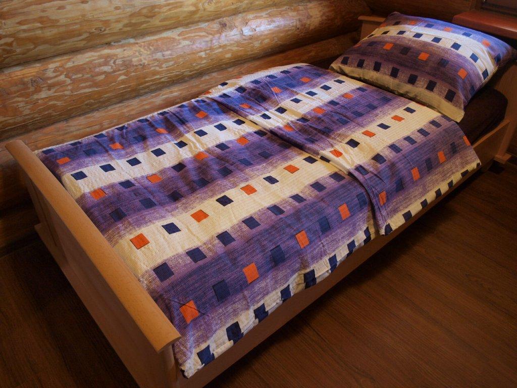 Povlečení bavlněné 140x200,70x90 fialové kostky