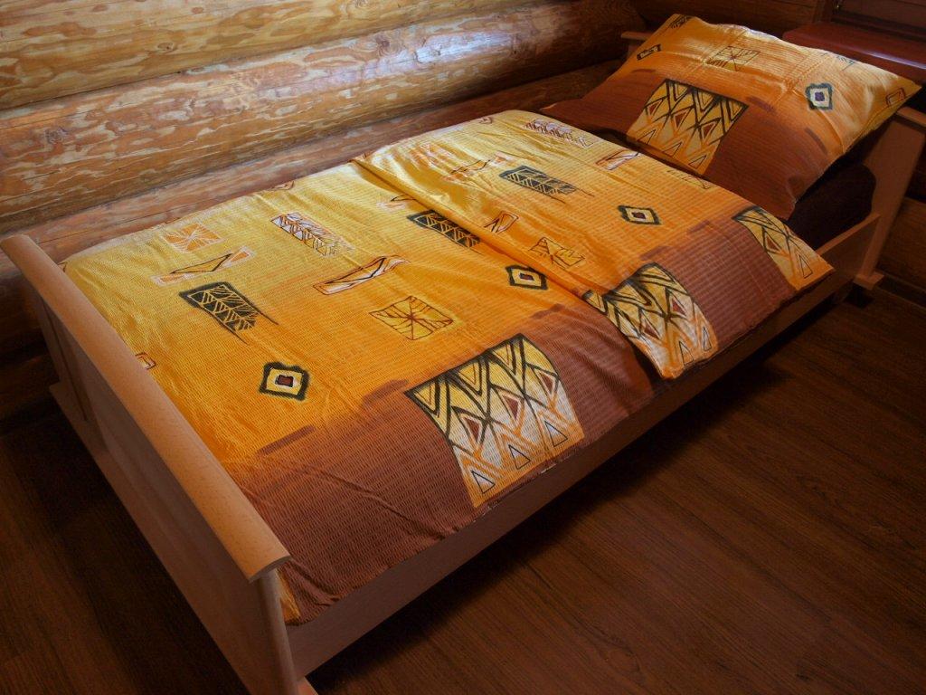 Povlečení bavlna 140x200, 70x90  hnědožluté