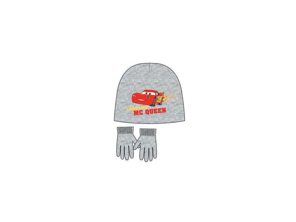 Čepice a rukavice Cars Mcqueen šedé