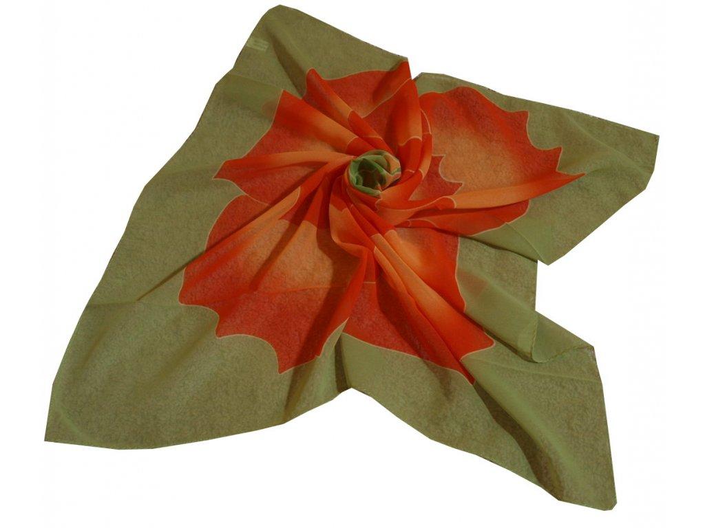 Šátek zelený s květinou