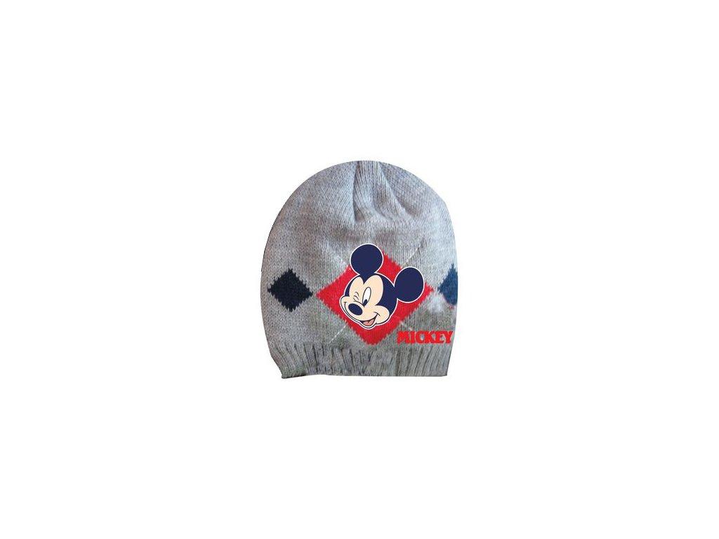 Dětská čepice s Mickey mouse světle šedá