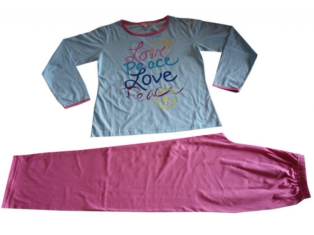 Dámské, dívčí pyžamo světle modré s růžovou
