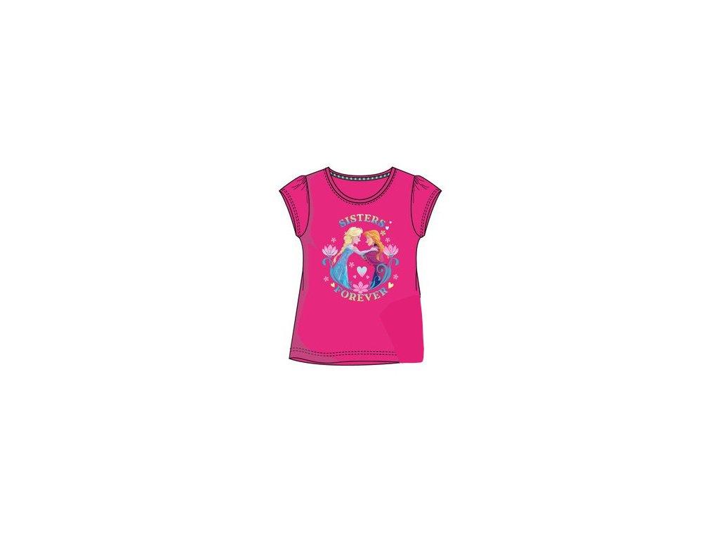 Frozen Anna a Elsa tričko tmavě růžové