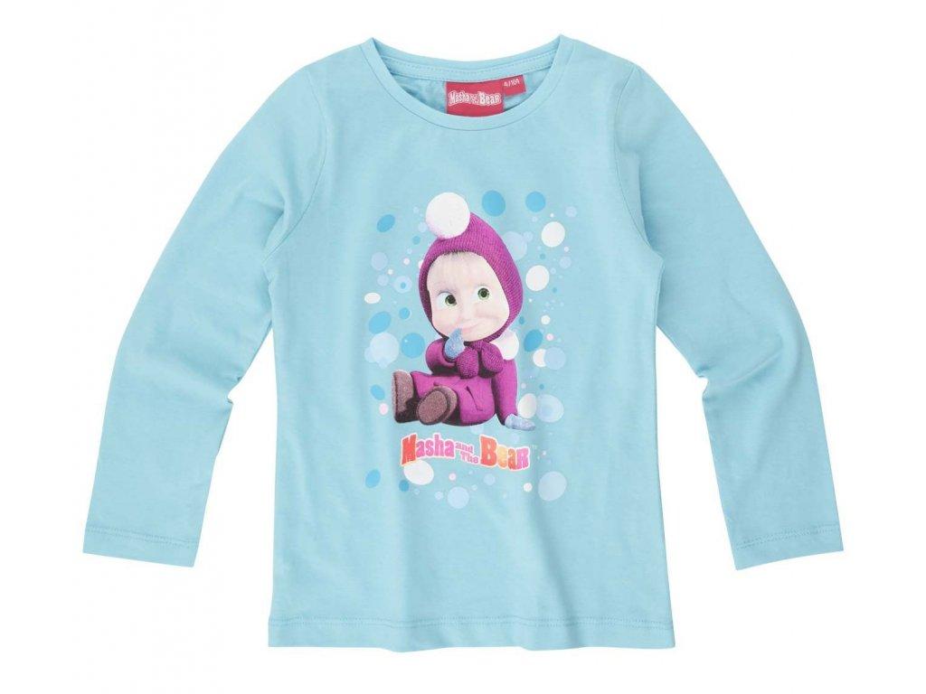 Máša a medvěd tričko tyrkysové bavlněné