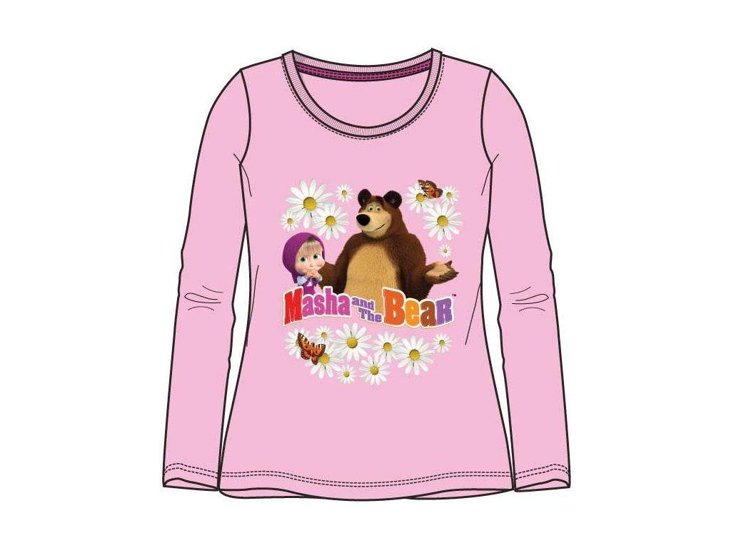 Máša a Medvěd tričko dlouhý rukáv růžové