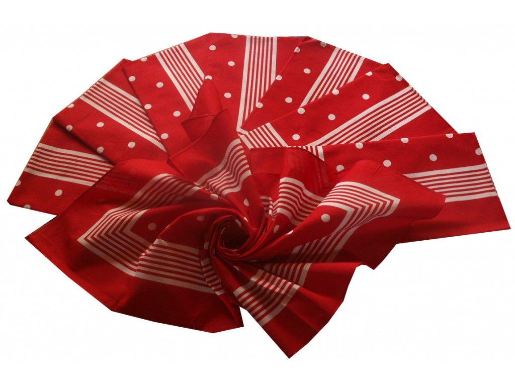 Bavlněný šátek velký čevený s puntíky