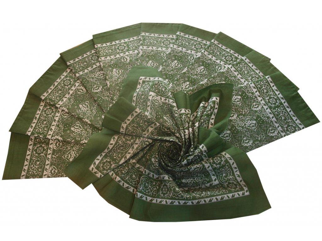 Bavlněný šátek velký zelený květovaný