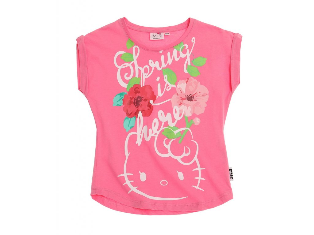 Hello Kity tričko bavlněné růžové