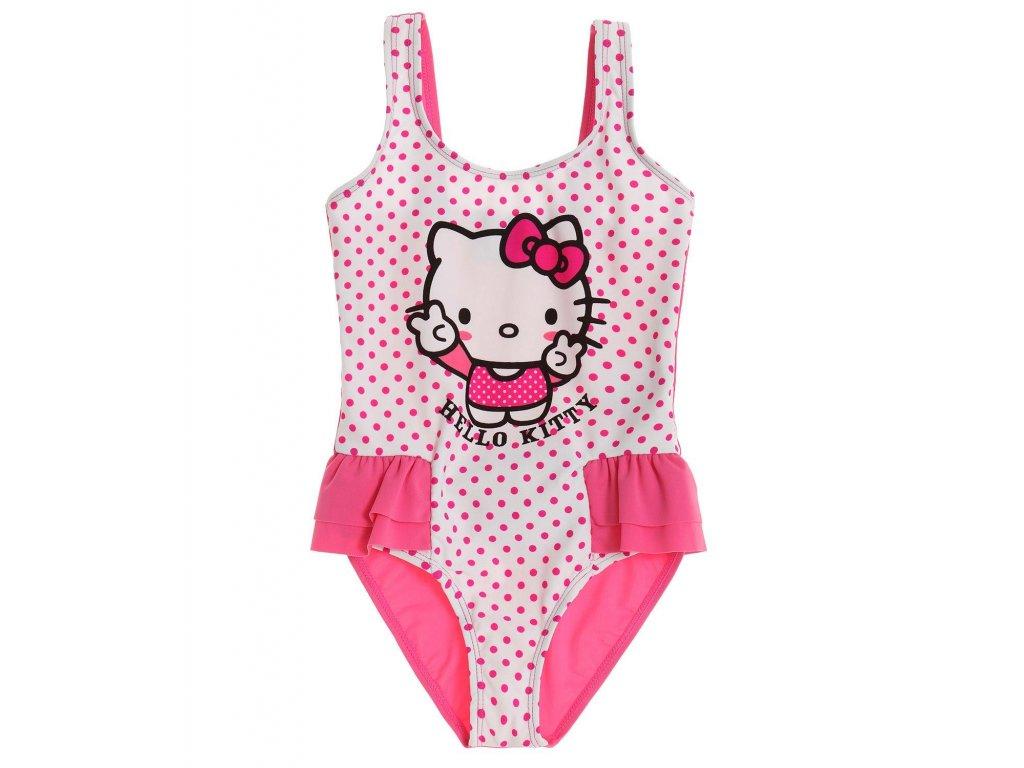 Hello Kitty plavky vcelku růžovobílé