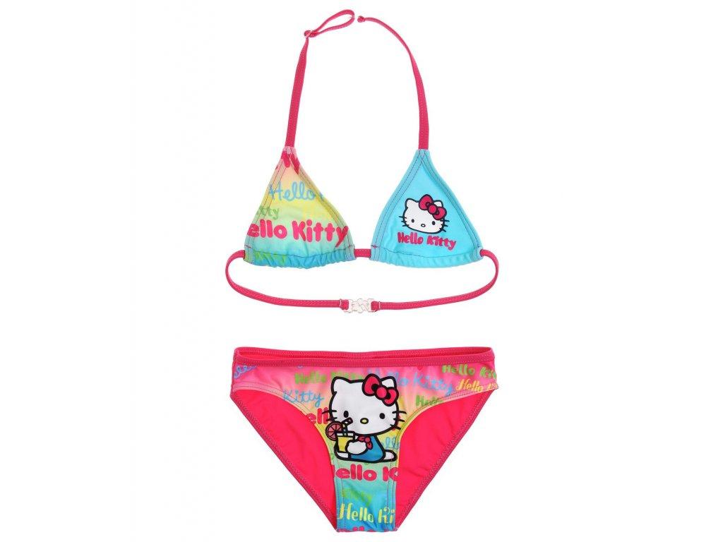 Hello Kitty plavky dvoudílné tyrkysověrůžové