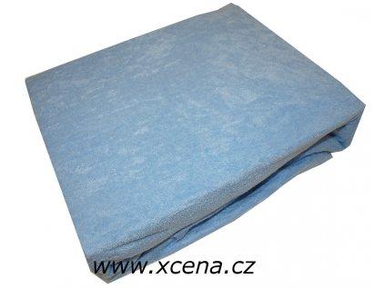 Prostěradlo froté světle modré 160/200 cm