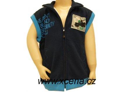 Dětská vesta s kožíškem modrá