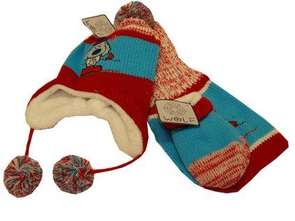 Chlapecká čepice červená s modrou 2-4 roky