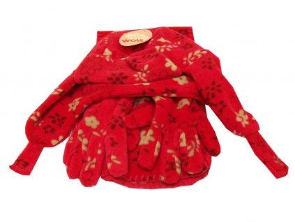 Dívčí čepice, šála, rukavice růžové
