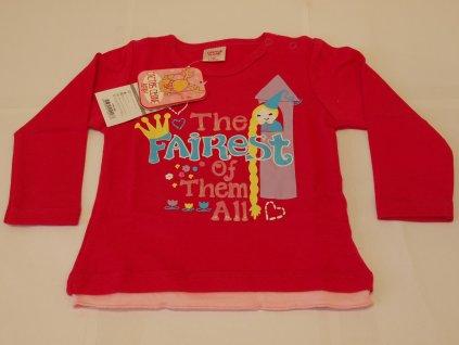 Dívčí tričko s dlouhým rukávem tm. růžové