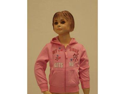 Dívčí rozepínací mikinka s kapucí růžová