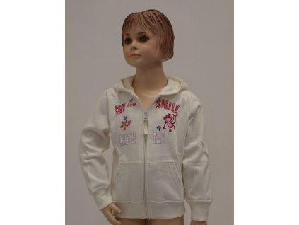 Dívčí rozepínací mikinka s kapucí bílá