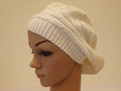 """Dámská pletená čepice typu """"baret"""", bílá"""