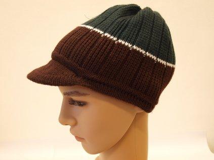 Pánská pletená čepice s kšiltem, šedo-hnědá