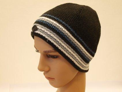 Pánská moderní čepice, tmavě šedá s bílým pruhem