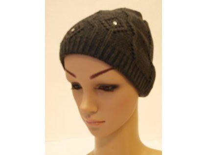 Dámská pletená čepice s kamínky, tmavě šedá