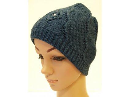 Dámská pletená čepice s kamínky, tmavě modrá