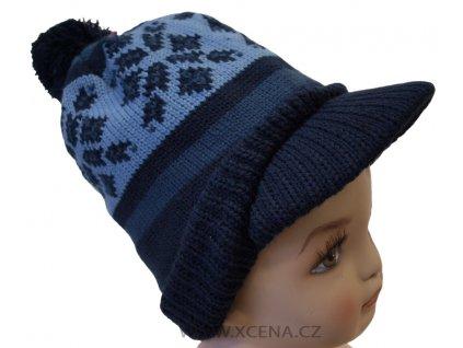 Zimní čepice s kšiltem modrá