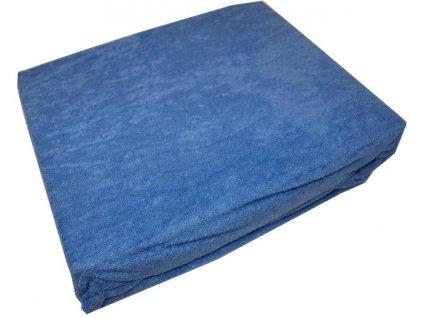 Prostěradla froté 160/200 středně modré