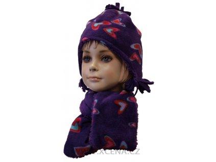 Zimní set dětský, čepice se šálou