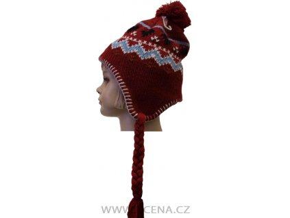 Zimní čepice, podšitá flecem červená
