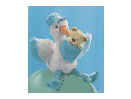 Čáp plyšový s miminkem modrý