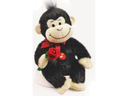 Opička vřeštící písničku černá