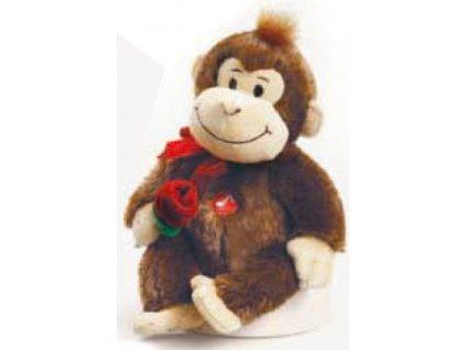 Opička vřeštící písničku tmavě hnědá