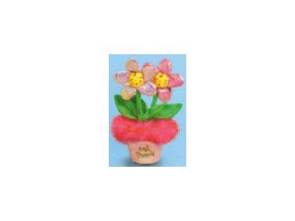 Kytička květináč růžový blýskavý
