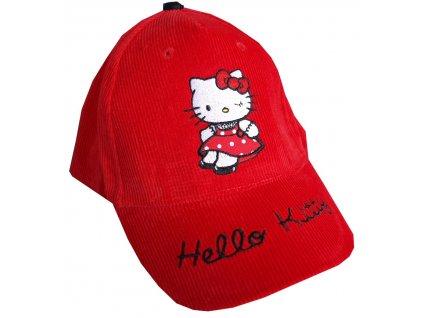 Hello Kitty Dívčí čepice s kšiltem červená