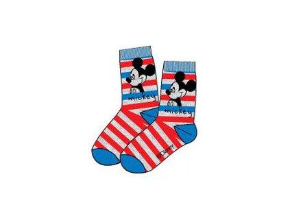 Mickey Mouse ponožky šedé s červenými proužky