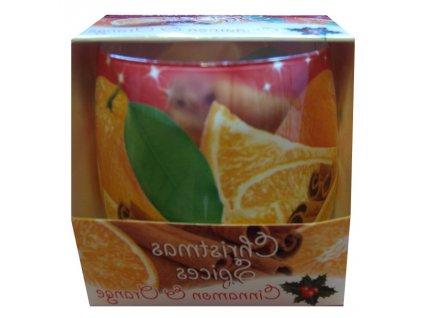 Vonná svíčka s vůní skořice s pomerančem