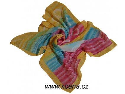 Šátek dámský duhový s kolečky