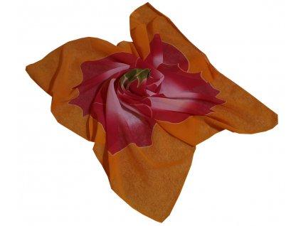 Šátek oranžový s květinou