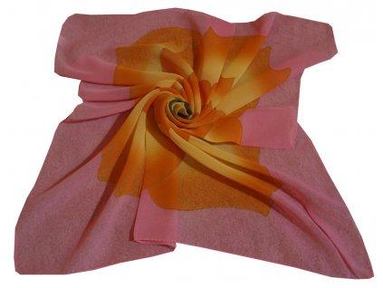 Šátek růžový s květinou