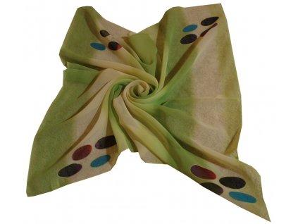 Šátek zelený duhový
