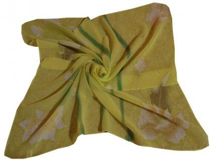 Šátek žlutozelený s květem