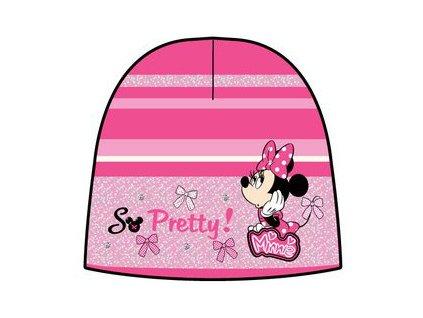 Čepice zimní Minnie růžová s fialkovou