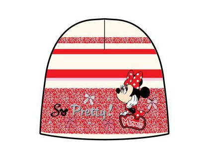 Čepice zimní Minnie červená s bílou