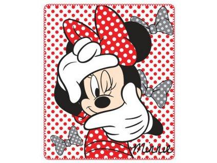 Deka flízová, dívčí s Minnie Mouse červená