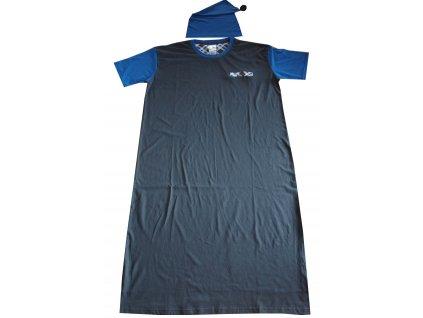 Noční košile tmavě šedá s modrou